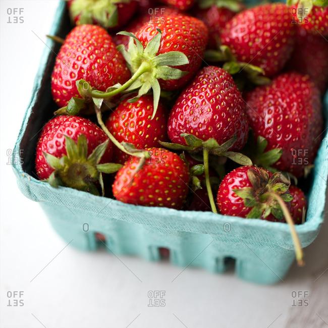 Fresh strawberries in fruit box