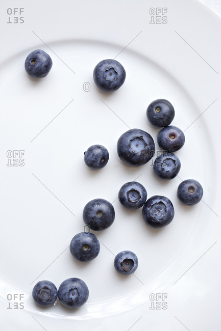 Several blueberries spread on white plate