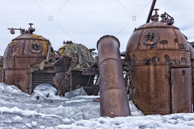 Abandoned rusty refinery equipment