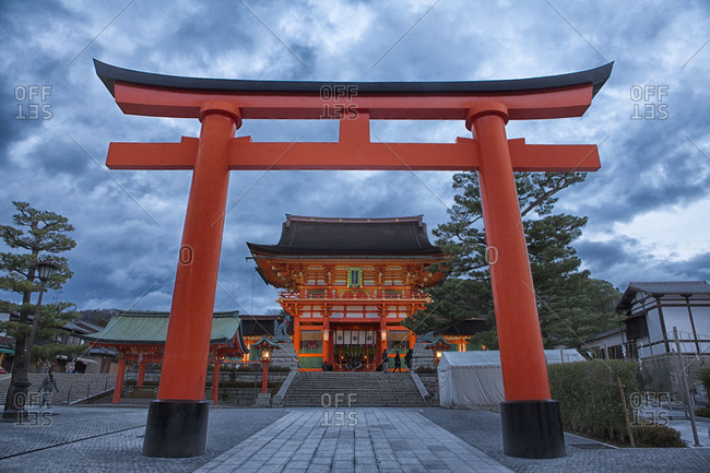 Orange fushimi Inari shrine in Kyoto Japan