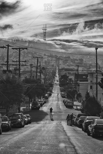 A long view of a street in San Francisco
