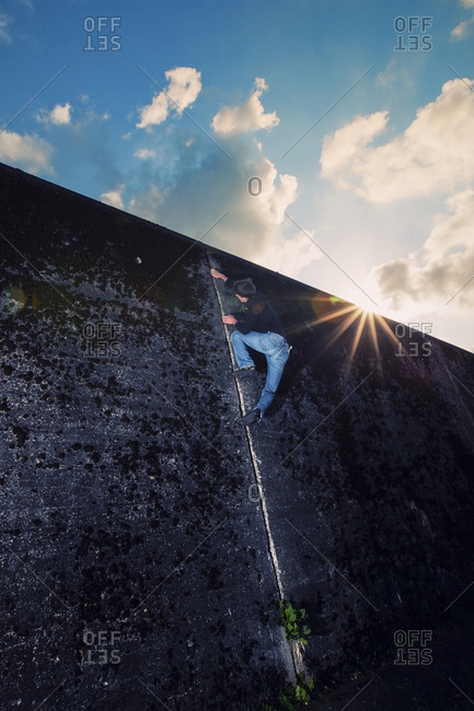 An Italian climber scales a concrete wall in Groningen, the Netherlands.