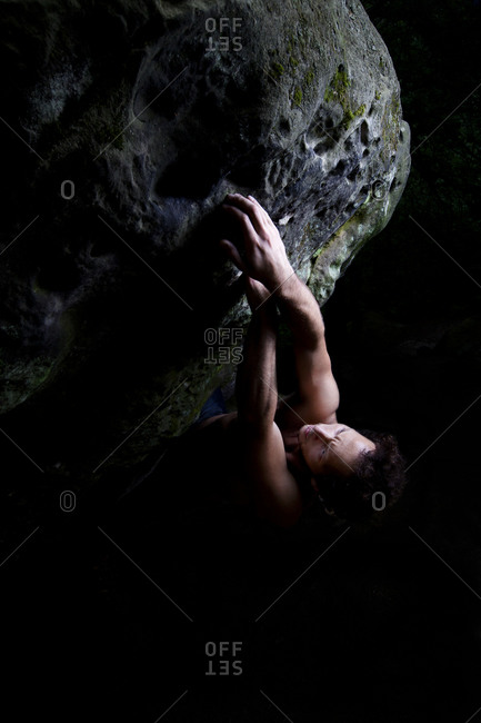 An Italian climber opens a bouldering project in Ibbenburen, Germany.