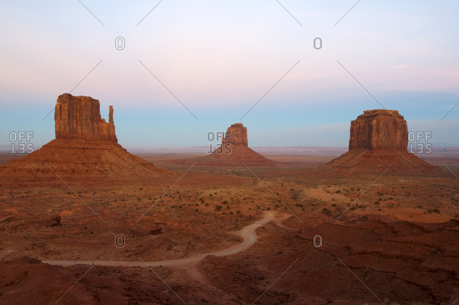 The classic view of Monument Valley as seen from the Visitor's Center, AZ.