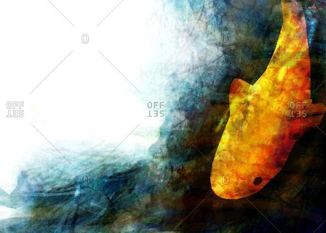 A golden yellow carp underwater in a deep blue pond
