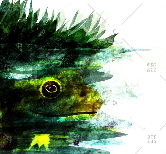 A dark green frog in a blue pond with reeds, a crown is reflected in the water