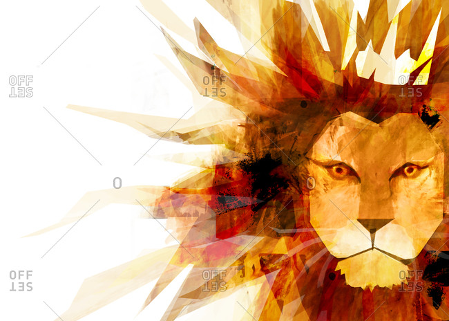 A lion's head with a big spiky mane wearing a crown