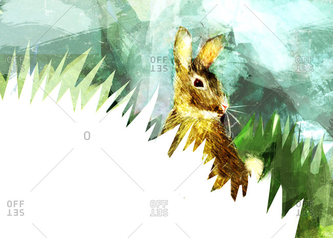 A brown rabbit against a blue sky with green and white cut out grass shapes