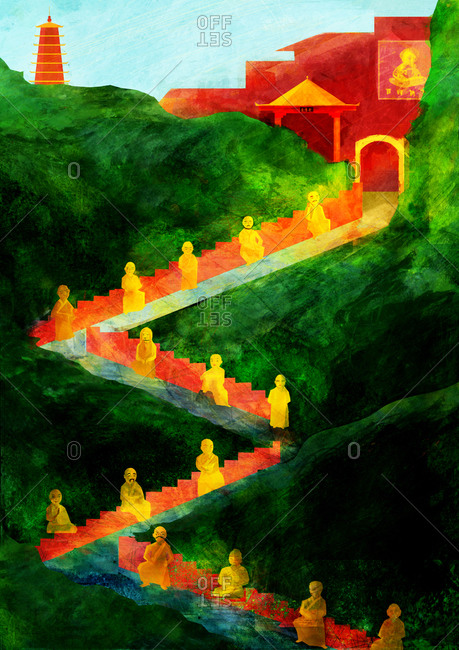 Portrait of a green forest with a red temple at the top, a red path with gold statues zigzags up to the temple