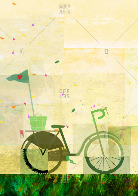 Portrait of a green bicycle with a yellow background and colorful petals