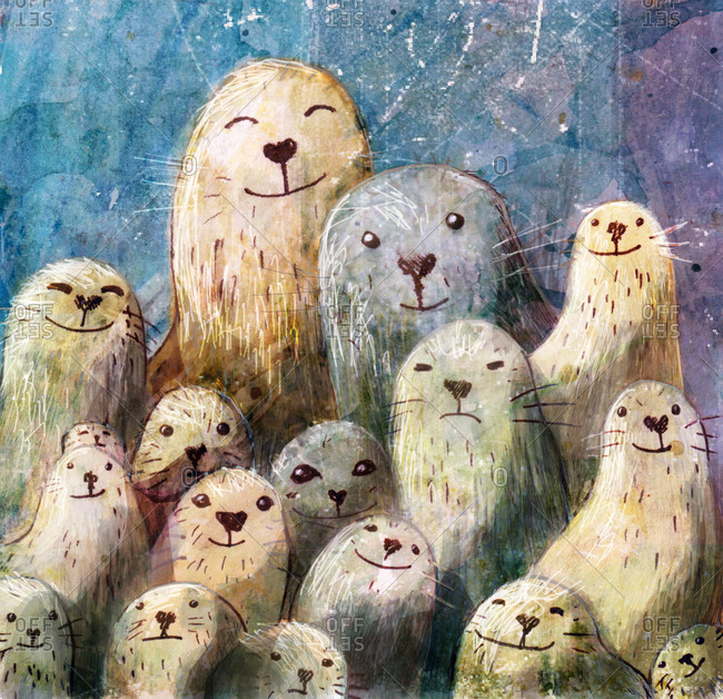 A large seal family in an old fashioned type pose