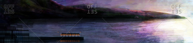 A purple sea with dark mountains and traditional fishing village with orange lights