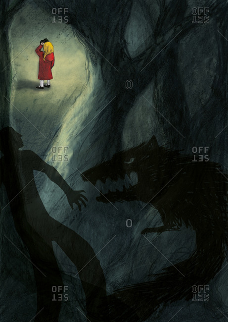 A girl in a red coat in a green wood with shadows of a man and a wolf in the foreground