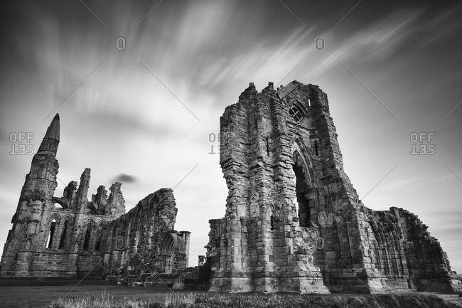 Whitby Abbey ruins in Yorkshire, England