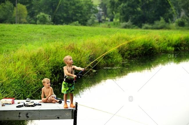 Kids fishing.
