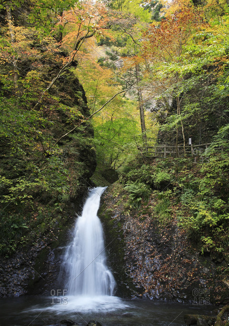 Panoramic view of picturesque waterfall in Japan