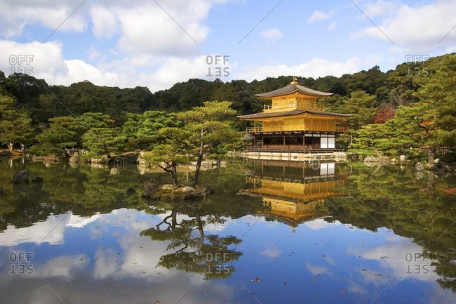 Kinkaku-ji temple in colorful landscape, Kyoto, Japan