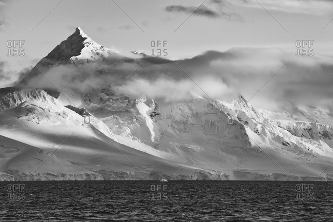 Stark peak in Antarctica in black and white