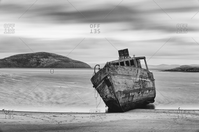 Wrecked minesweeper on the shore, Falkland Islands