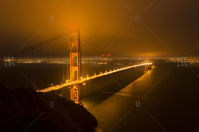 Panoramic view on Golden Gate Bridge in San Francisco at night, USA