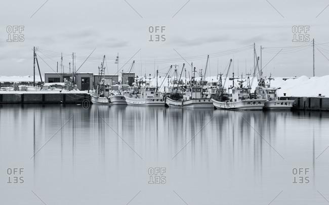 Boats in Haboro port, Hokkaido, Japan