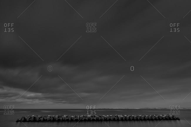 Panorama of Saroma lake with sky in Hokkaido, Japan