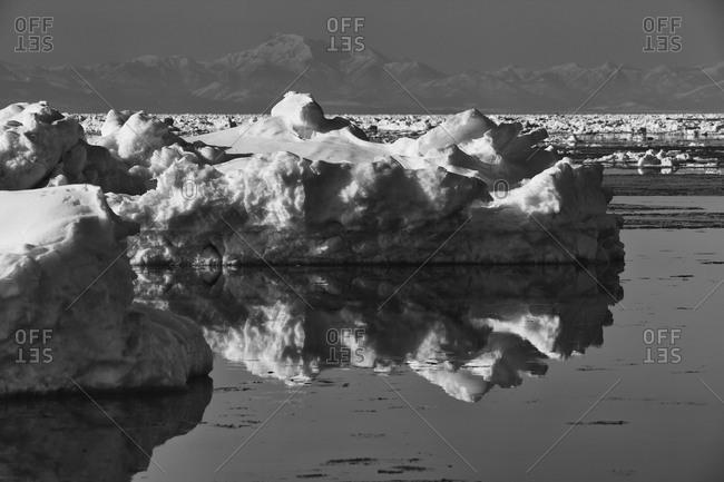 Drift Ice formation in Notsuke Peninsula, island of Hokkaido, Japan.