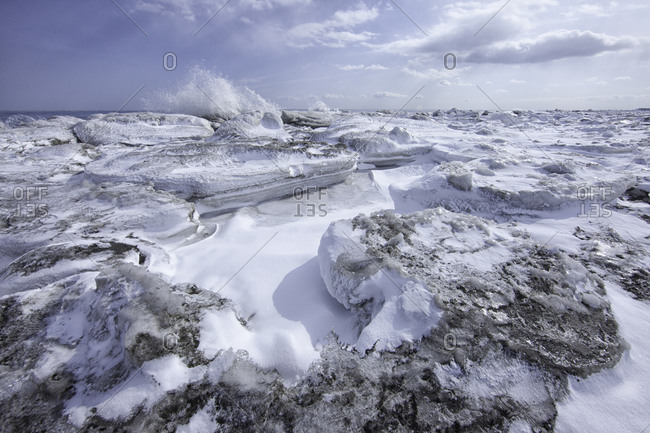 Blocks of sea ice on the beach on the Notsuke Peninsula, Hokkaido, Japan
