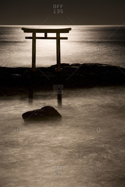 Moonlit Shinto Gate at Ooarai in Ibaraki prefecture, Japan