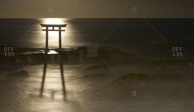 Moonrise over Shinto Gate at Ooarai in Ibaraki prefecture, Japan