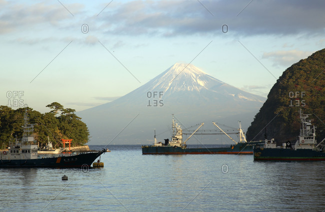 Port of Kawaguchi Lake with Mount Fuji in background
