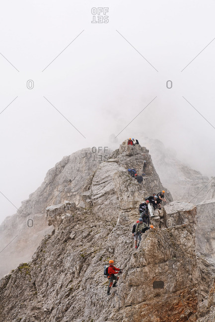 Climbers on Via Ferrata, Mt Cristallo, Dolomites, Italy