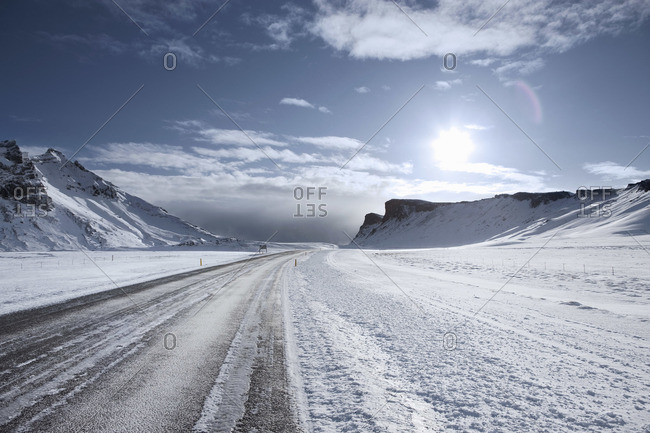 Snow Covered Road, Outside of Vik, Iceland