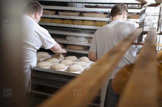 Back View of Bakers Preparing Bread
