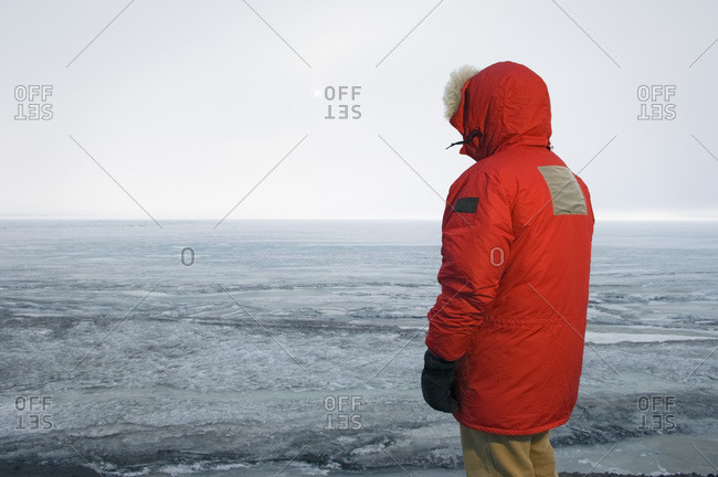 Back View of Man in Parka, McMurdo Station, Ross Island, Antarctica