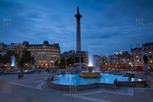Nelson\'s Column and Water Fountains in Trafalgar Square, Westminster, London, England