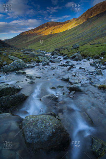 Gatesgarthdale Beck running downstream towards Bettermere from Honister Pass, Lake District, Cumbria, England