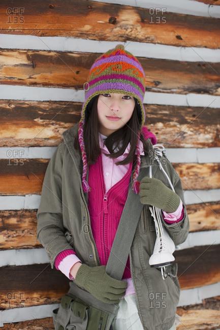 Girl at Cabin, Frisco, Summit County, Colorado, USA