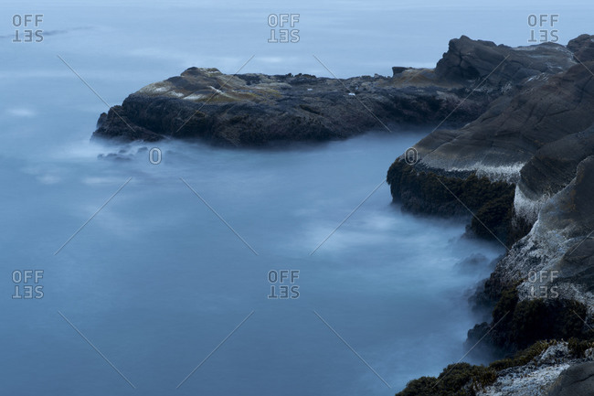 Aerial view of foggy coastline