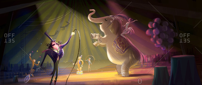 An extravagant circus performance with the ringleader and his elephant