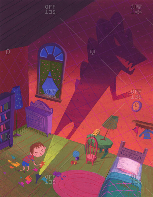 Children's gouache painting of a little boy playing shadow puppets in his bedroom