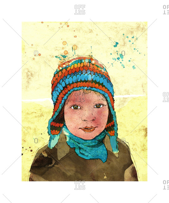 Little boy wearing a cap in winter