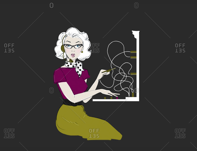 Illustration of a 1950s Telephone Operator
