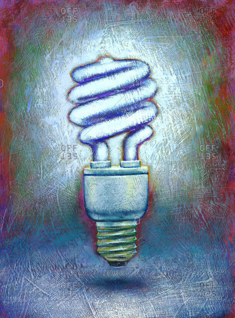 Painting of a Compact Flourescent Lightbulb