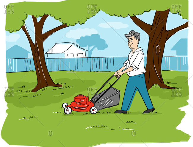 Illustration of Man Mowing the Lawn
