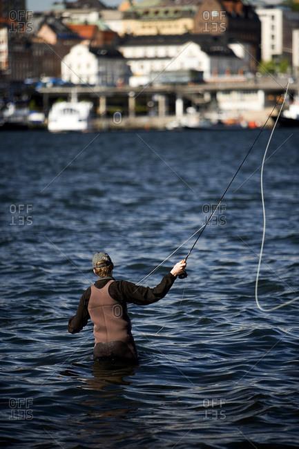 Man fishing in the water