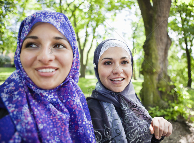 Two girls in head scarf