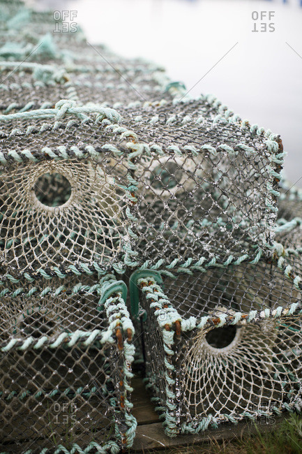Close-up of fish cage stack