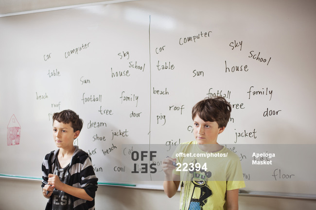 Two schoolboys standing against whiteboard in classroom