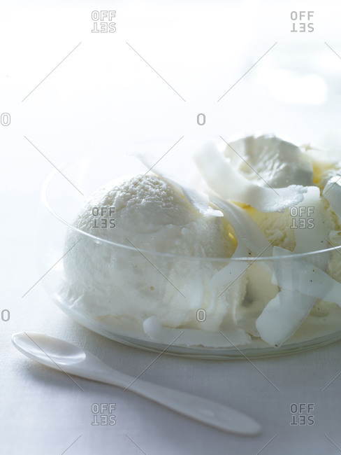 Bowl of coconut ice cream with coconut shavings and an ivory dessert spoon.